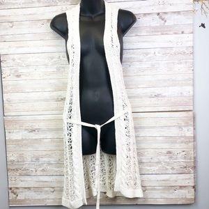 BANANA REPUBLIC Cream Crochet Knit Kimono Vest